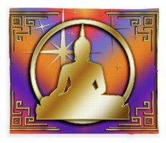 Art Deco Buddha - Stars Fleece Blanket