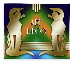 Art Deco Cats - Gold Fleece Blanket