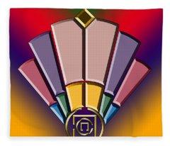 Art Deco Fan 13 Fleece Blanket