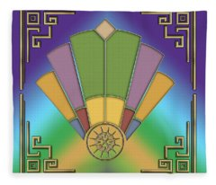 Art Deco Fan 9 Fleece Blanket
