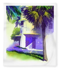 Art Deco Hotel Miami Fleece Blanket