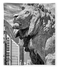 Art Institute In Chicago Lion Black And White Fleece Blanket