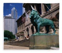 Art Institute Of Chicago Chicago Il Usa Fleece Blanket