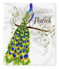 Art Nouveau Peacock W Swirl Tree Branch And Scrolls Fleece Blanket