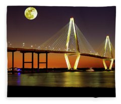 Arthur Ravenel Bridge At Night Fleece Blanket