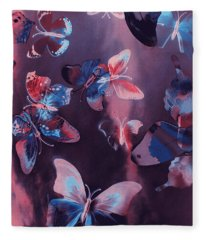 Artistic Colorful Butterfly Design Fleece Blanket