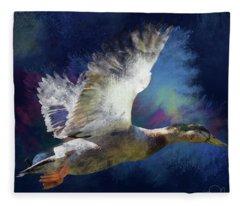 Artistic Duck In Flight Fleece Blanket