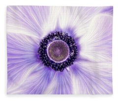 Artistic Poppy Anemone Fleece Blanket