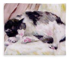 Artist's Cat Sleeping Fleece Blanket