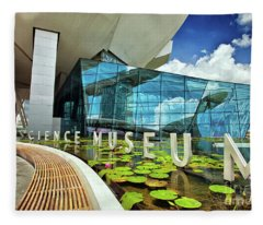 Artscience Museum At The Marina Bay Sands Resort In Singapore Fleece Blanket
