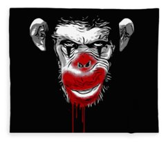 Evil Monkey Clown Fleece Blanket
