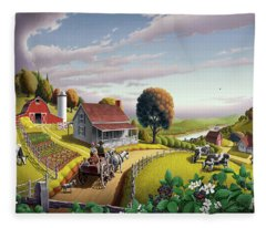 Appalachian Blackberry Patch Rustic Country Farm Folk Art Landscape - Rural Americana - Peaceful Fleece Blanket