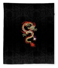 Golden Chinese Dragon Fucanglong On Black Silk Fleece Blanket