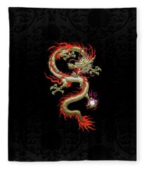 Golden Chinese Dragon Fucanglong On Black Silk Fleece Blanket