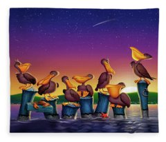 Pelican Sunset Whimsical Cartoon -  Square Format Fleece Blanket