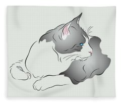 Grey And White Cat In Profile Graphic Fleece Blanket