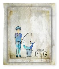 Dream Big Whale In Bucket Ginkelmier Fleece Blanket