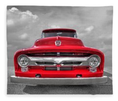 Red Ford F-100 Head On Fleece Blanket