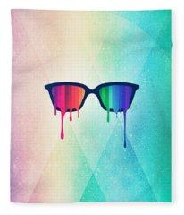 Love Wins Rainbow - Spectrum Pride Hipster Nerd Glasses Fleece Blanket
