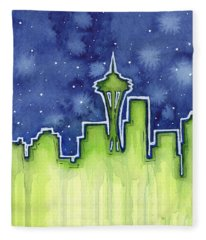 Seattle Night Sky Watercolor Fleece Blanket