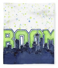 Seattle 12th Man Legion Of Boom Painting Fleece Blanket