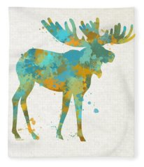 Moose Watercolor Art Fleece Blanket