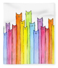 Cat Rainbow Watercolor Pattern Fleece Blanket