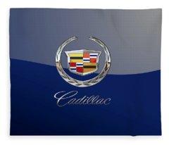 Cadillac 3 D  Badge Special Edition On Blue Fleece Blanket