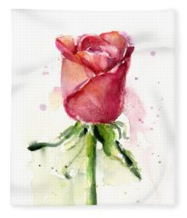 Rose Watercolor Fleece Blanket