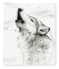 Howling Wolf Watercolor Fleece Blanket