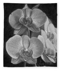 Orchids - Black And White Fleece Blanket