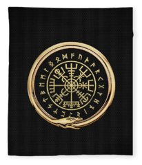 Vegvisir - A Magic Icelandic Viking Runic Compass - Gold On Black Fleece Blanket