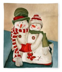 Mr. And Mrs. Snowman Vintage Fleece Blanket