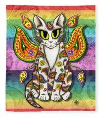 Rainbow Paisley Fairy Cat Fleece Blanket