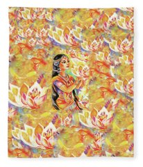 Pray Of The Lotus River Fleece Blanket