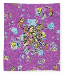 Purple Paisley Flower  Fleece Blanket