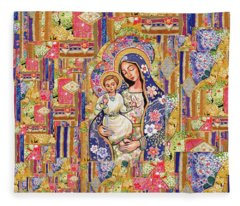 Panagia Eleousa Fleece Blanket