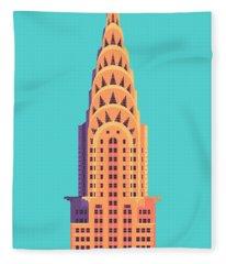 Chrysler Building - Cyan Fleece Blanket