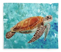 Turtle Swimming Fleece Blanket
