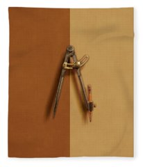 Iron Compass On Color Paper Fleece Blanket