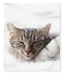 Cat And Snow Fleece Blanket
