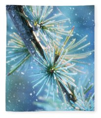 Blue Atlas Cedar Winter Holiday Card Fleece Blanket