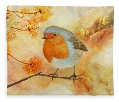 Robin Among Flowers Fleece Blanket