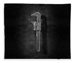 Antique Adjustable Wrench Front In Bw Fleece Blanket
