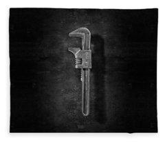 Antique Adjustable Wrench Front In Bw Fleece Blanket