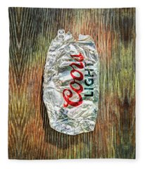 Crushed Light Silver Beer Can On Plywood 79 Fleece Blanket