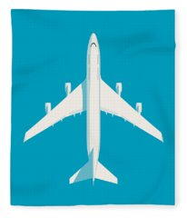 747 Jumbo Jet Airliner Aircraft - Cyan Fleece Blanket