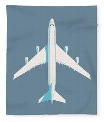 747 Jumbo Jet Airliner Aircraft - Slate Fleece Blanket