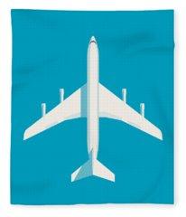 707 Passenger Jet Airliner Aircraft - Cyan Fleece Blanket