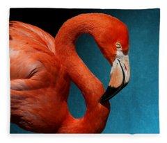 Profile Of An American Flamingo Fleece Blanket